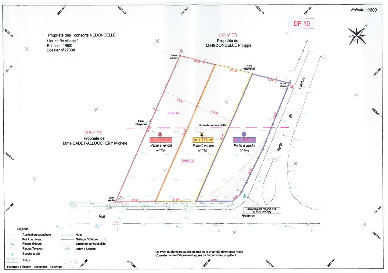 plan des parcelles CLÉTY , Rte Départementale
