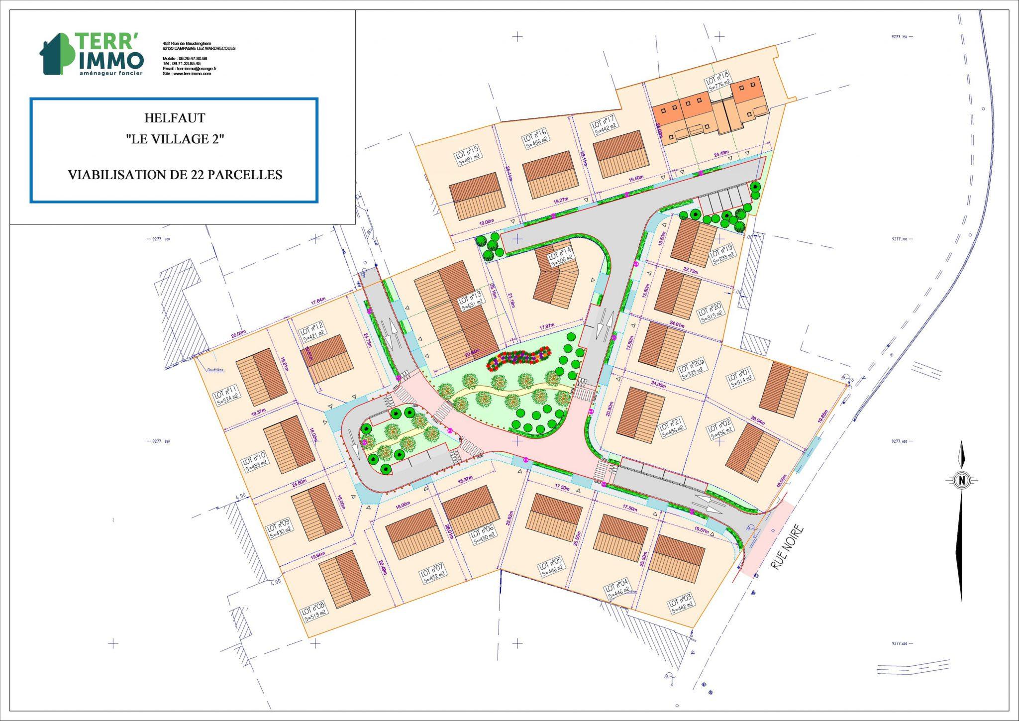 plan des parcelles HELFAUT , Centre du Village