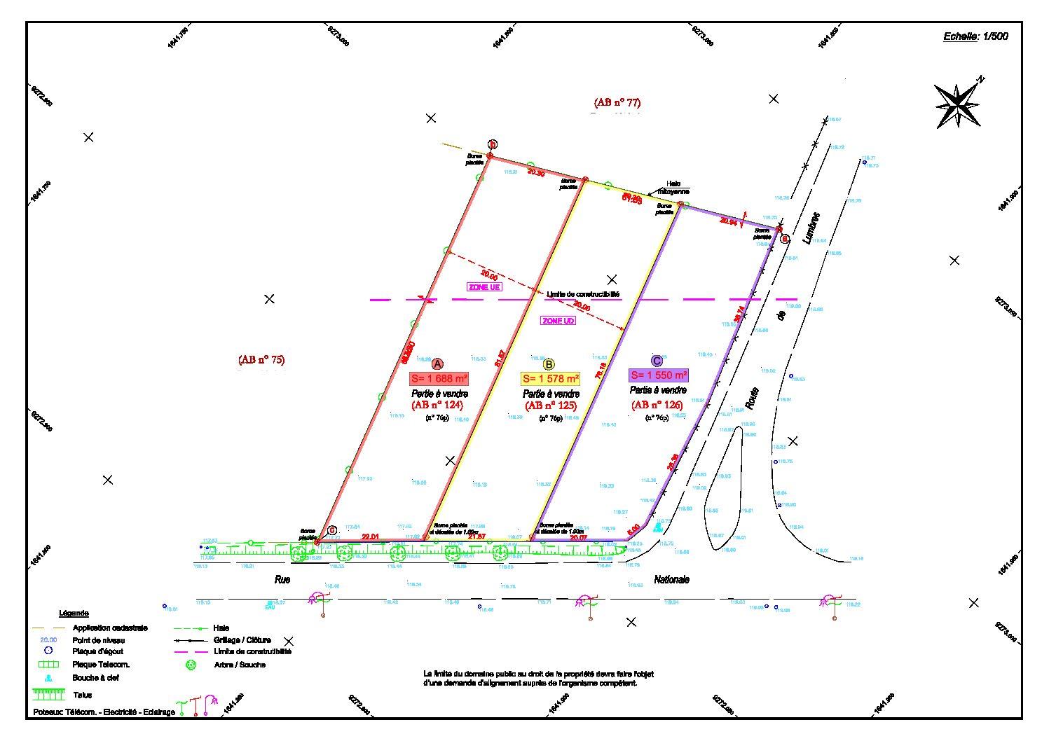 plan des parcelles CLÉTY (Rte Départementale)