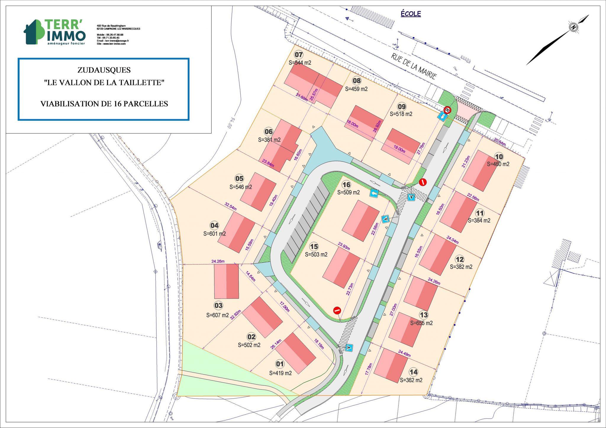 plan des parcelles ZUDAUSQUES , Centre 2