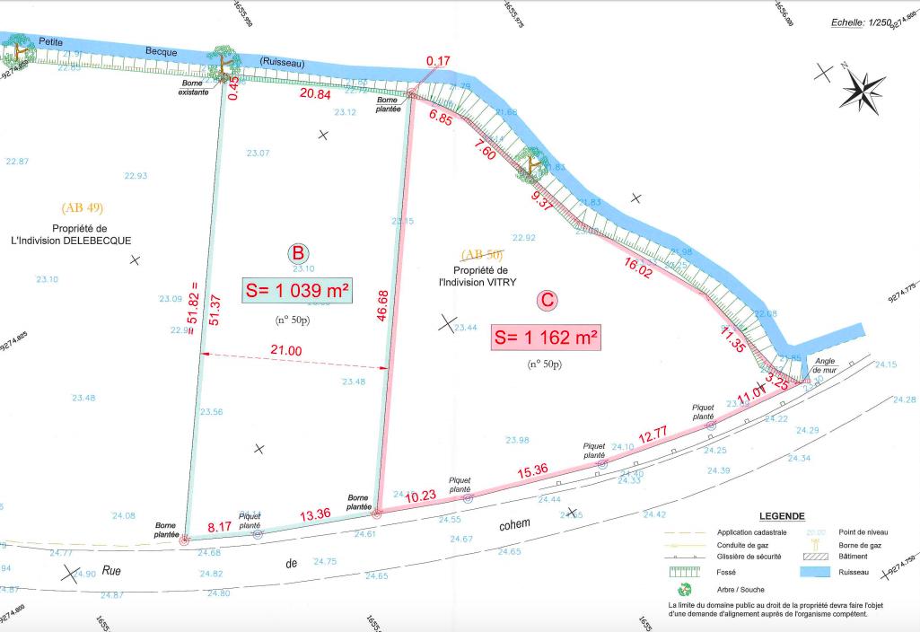 plan des parcelles WITTES , Rue de Cohem