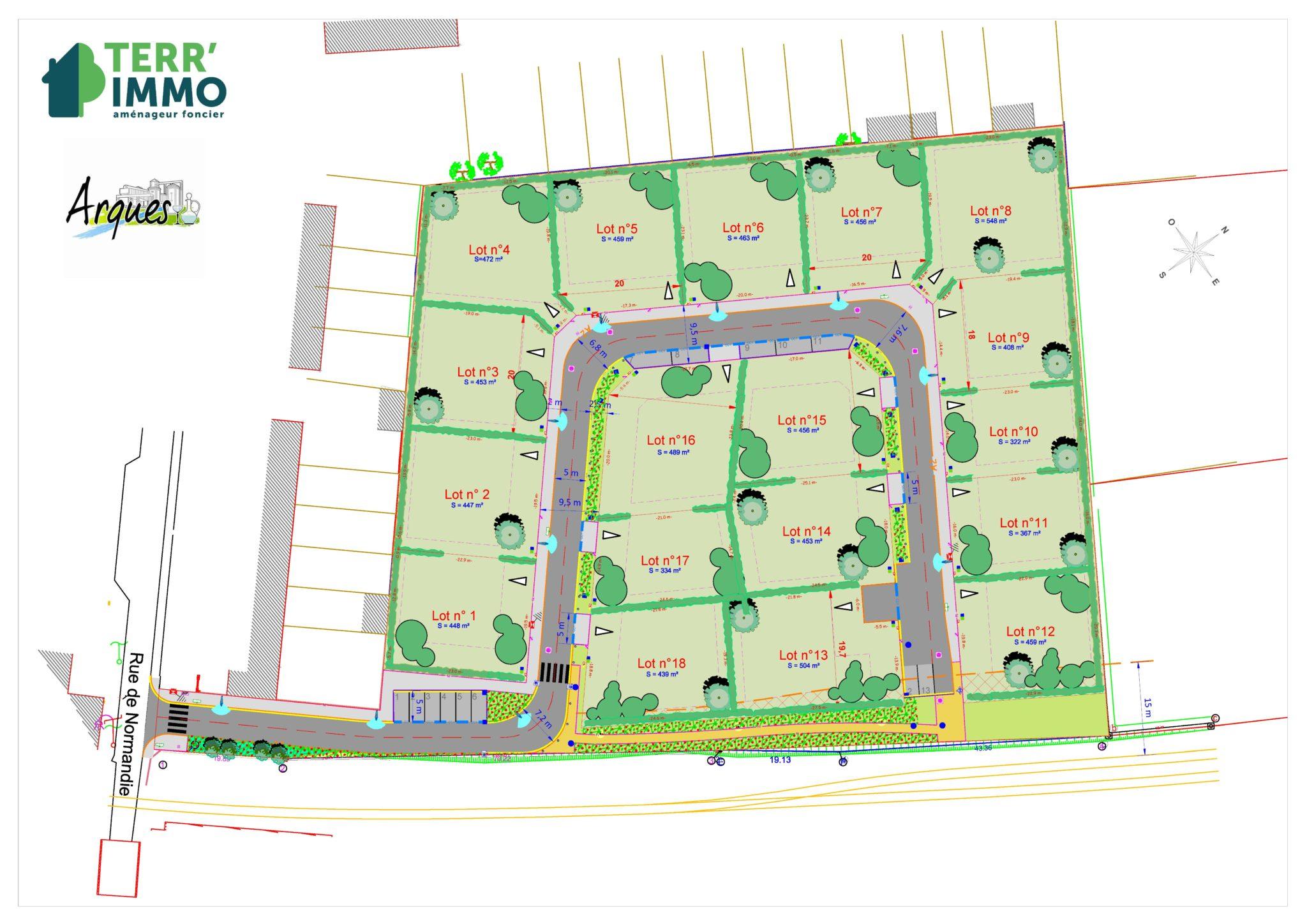 plan des parcelles ARQUES  Rue de Normandie
